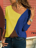 [Free] Asymmetric Neck Patchwork Contrast Stitching T-Shirts Royal Blue / S Shirts & Blouses
