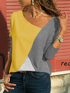 [Free] Asymmetric Neck Patchwork Contrast Stitching T-Shirts Gray / S Shirts & Blouses