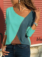 [Free] Asymmetric Neck Patchwork Contrast Stitching T-Shirts Sky Blue / S Shirts & Blouses