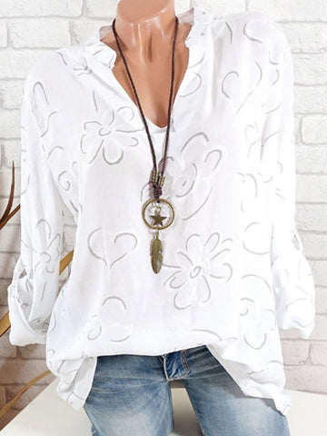 V Neck Loose Fitting Print Blouses & Shirts