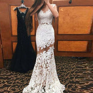 Sexy Lace Openwork Sleeveless Evening Dress White / S