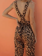 Fashion Leopard Print Sleeveless Rompers Jumpsuits Jumpsuit