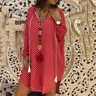 Fashion Wave Point V-Neck Long-Sleeved Dress Red / M Casual
