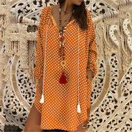 Fashion Wave Point V-Neck Long-Sleeved Dress Orange / M Casual