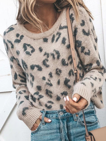Casual Leopard Print Round Neck Knitted Sweater Leopard Print