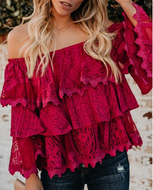 Casual Lace Pure Colour Off-Shoulder Shirt Red / S Shirts & Blouses