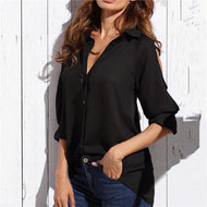 Fashion Sexy Off The Shoulder Loose Pure Color Shirt Shirts & Blouses