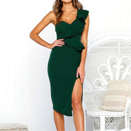 Sexy Halter With Flounces Dress Green / S Bodycon