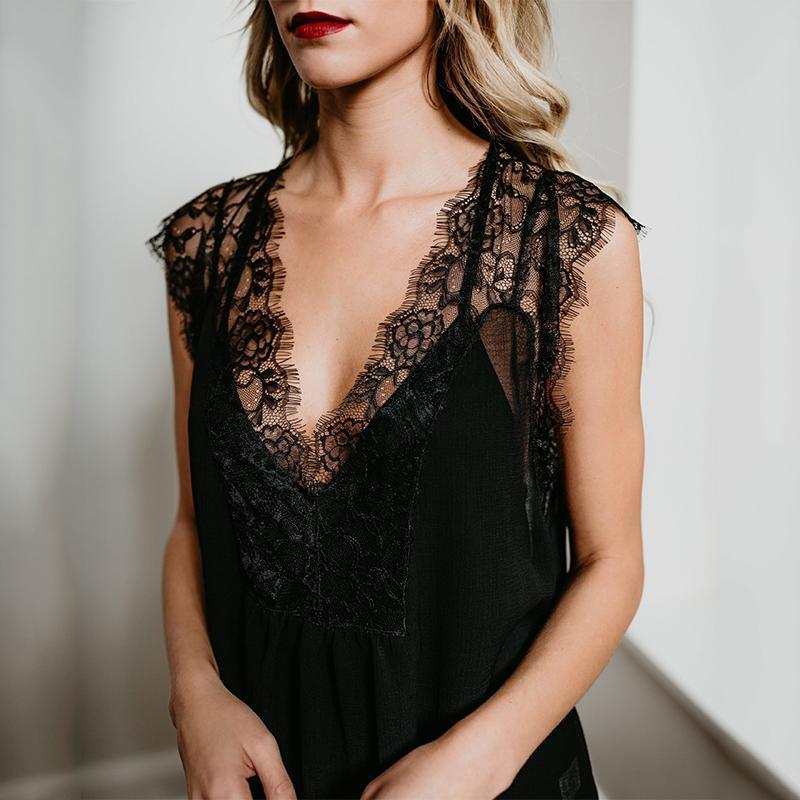 Sexy Deep V Lace Sleeveless Pure Colour Shirt Black / S Shirts & Blouses