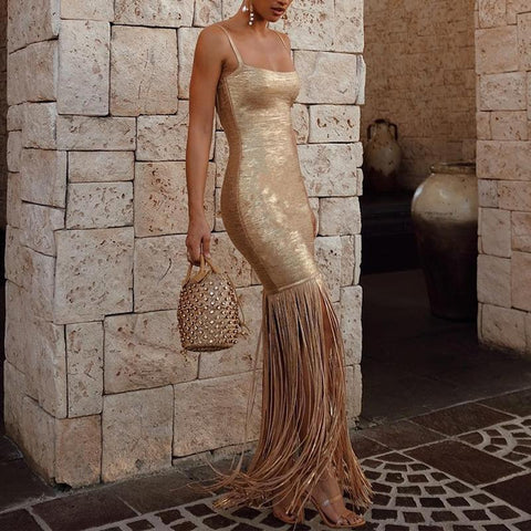 Sexy Tassel Splicing Sling Sleeveless Evening Dress Gold / S