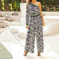 Sexy One Shoulder Printed Jumpsuit Black / M