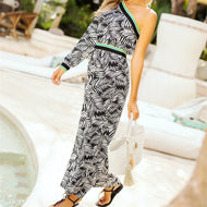 Sexy One Shoulder Printed Jumpsuit