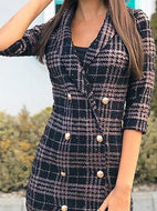 Casual V Neck Plaid Halflong Sleeve Coat