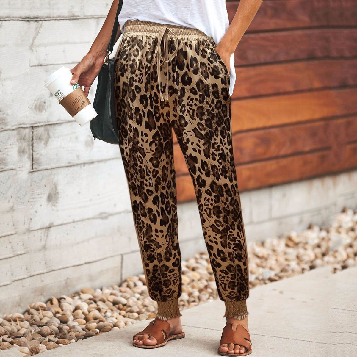 Casual Leopard Print Elastic Drawstring Waist Sport Pants Same As Photo / S