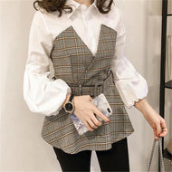 Casual Plaid Stitching Long Sleeve Blouse Khaki / M Shirts & Blouses