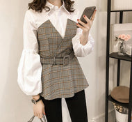Casual Plaid Stitching Long Sleeve Blouse Shirts & Blouses