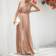 Sexy Bare Back High-Waist Broad Leg Jumpsuits Pink / S Jumpsuit