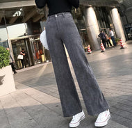 Vintage Corduroy Thickened High-Waisted Straight Trousers Pants