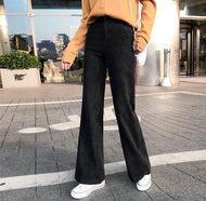 Vintage Corduroy Thickened High-Waisted Straight Trousers Pink / S Pants