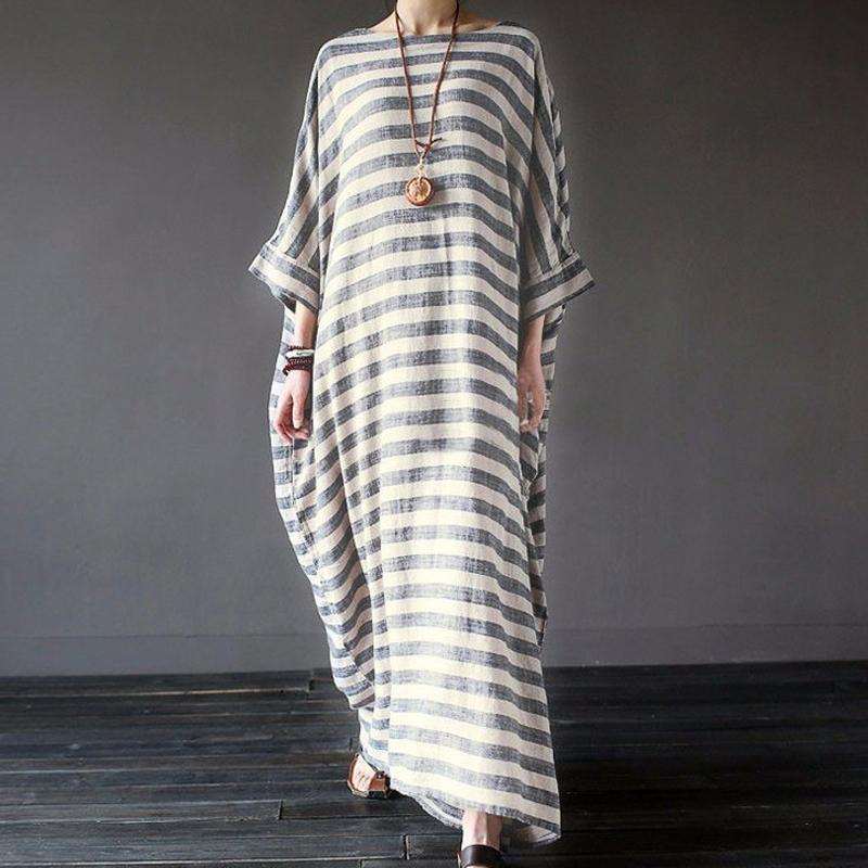 Casual Loose Size Round Collar Strips Maxi Dresses Gray / S Dress