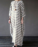 Casual Loose Size Round Collar Strips Maxi Dresses Dress