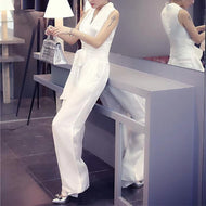 Fashion Sleeveless Pure Colour V Neck Jumpsuits White / S Jumpsuit