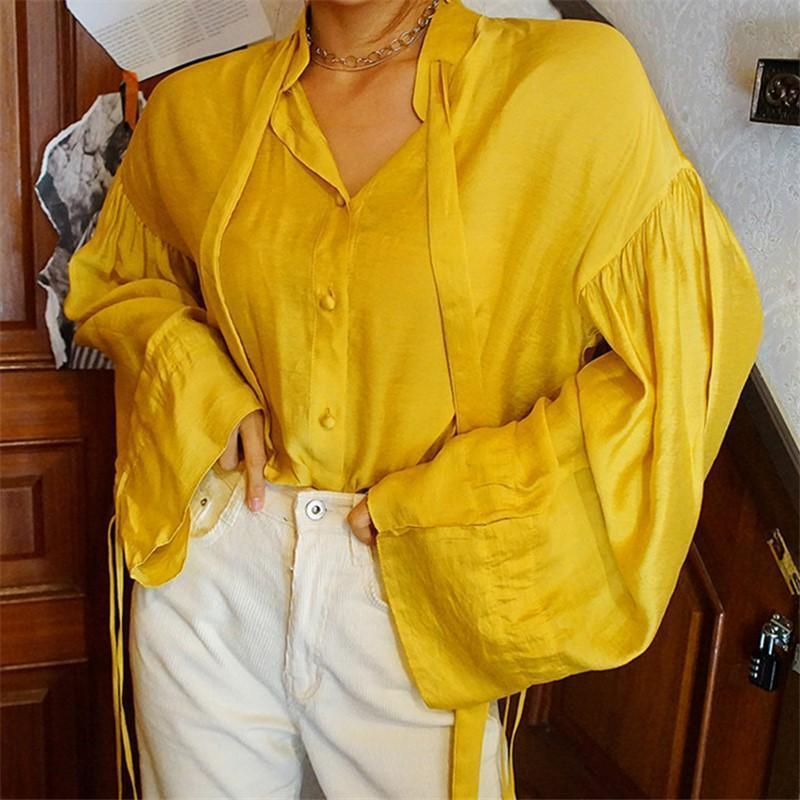 Womens Casual Pure Color Loose Lantern Sleeve Shirt Yellow / One Size Shirts & Blouses