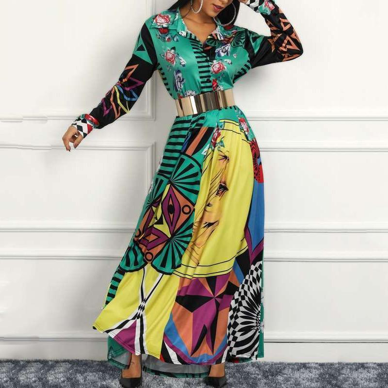 Fashion Turndown Collar Contrast Color Maxi Dresses Same As Photo / S Dress