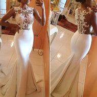 Fashion Sleeveless See-Through Pure Colour Fishtail Dresse White / S Evening Dress