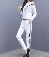 Casual Loose Slim Off Shoulder Sportswear Hoodies Suit Two Piece Suit