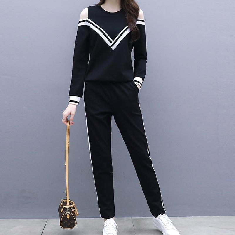 Casual Loose Slim Off Shoulder Sportswear Hoodies Suit Black / S Two Piece Suit