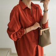 Casual Loose Pure Color Long Sleeve Shirt Shirts & Blouses