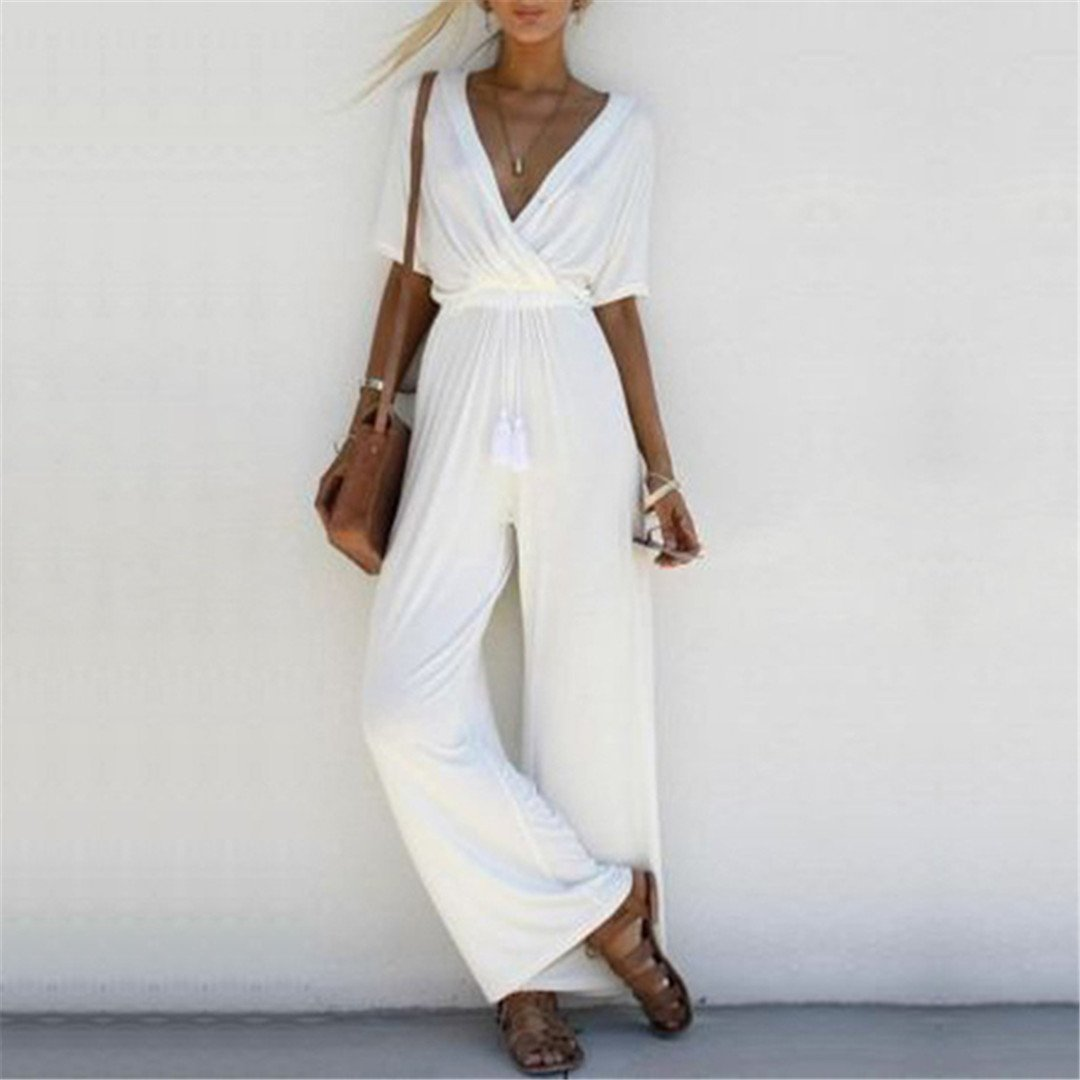 Stylish Crossed Deep V Jumpsuit White / S
