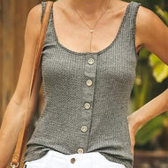 Casual Pure Colour Sleeveless Sling Vest Gray / S Vests