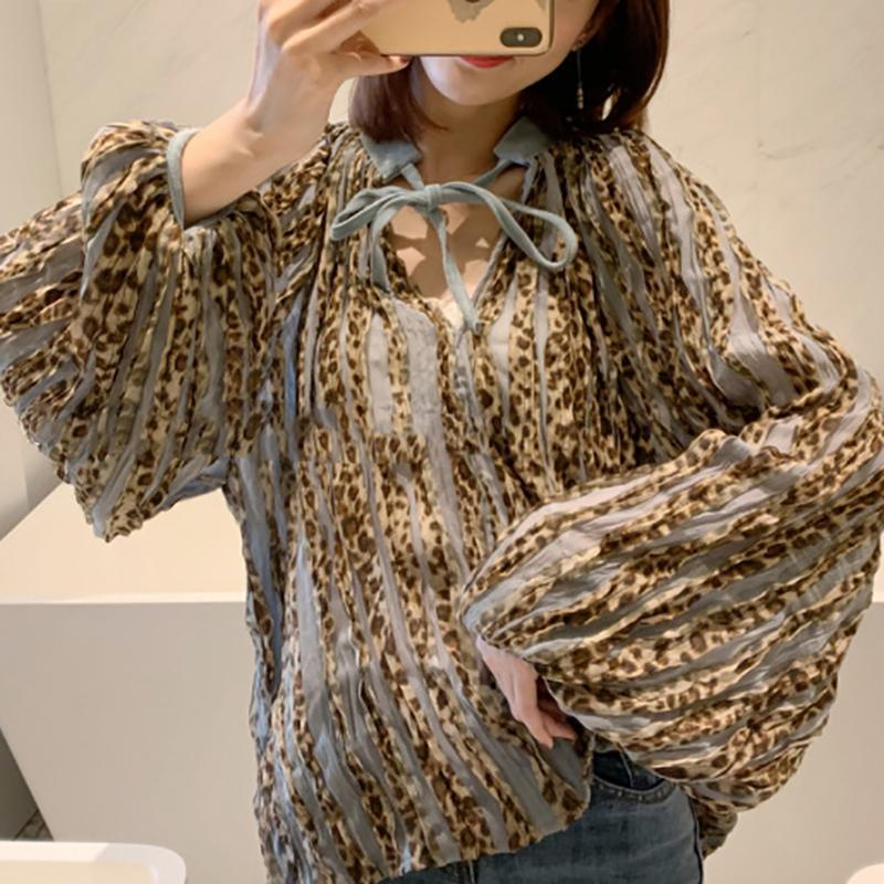 Casual Loose Frenulum Leopard Print Shirt Blouse Same As Photo / One Size Shirts & Blouses