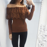 Fashion Boat Neck Lace Long Sleeve T-Shirt Brown / S Shirts & Blouses