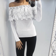 Fashion Boat Neck Lace Long Sleeve T-Shirt White / S Shirts & Blouses