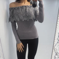 Fashion Boat Neck Lace Long Sleeve T-Shirt Gray / S Shirts & Blouses