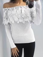 Fashion Boat Neck Lace Long Sleeve T-Shirt Shirts & Blouses