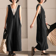 Casual Loose Plus Size V Neck Wide Leg Jumpsuit Black / L