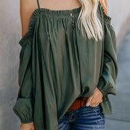 Sexy Lace Pure Colour Boat Neck Loose T-Shirt Green / S Shirts & Blouses
