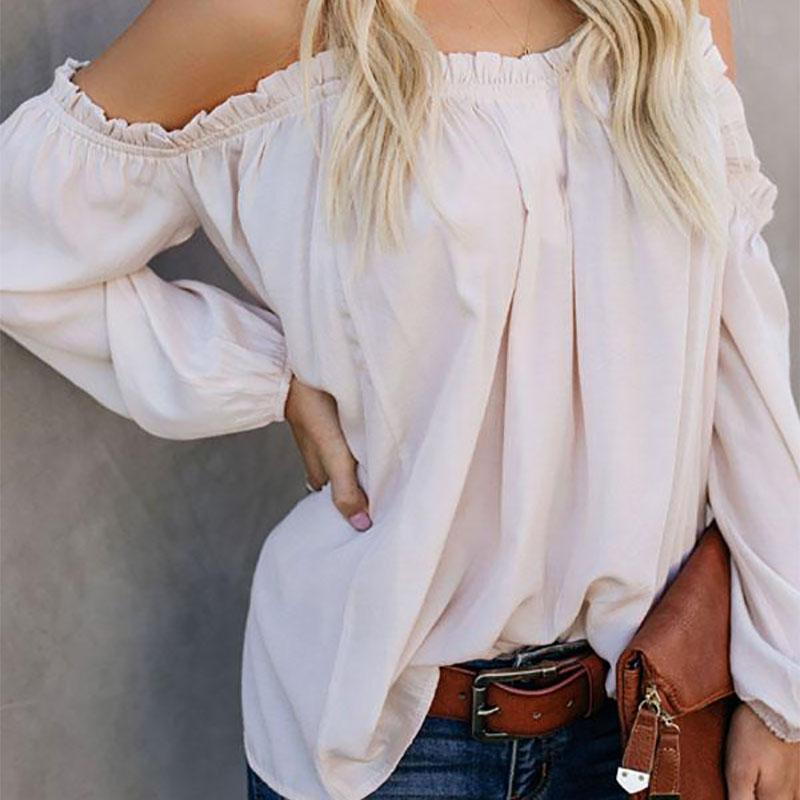 Sexy Lace Pure Colour Boat Neck Loose T-Shirt White / S Shirts & Blouses