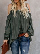 Sexy Lace Pure Colour Boat Neck Loose T-Shirt Shirts & Blouses