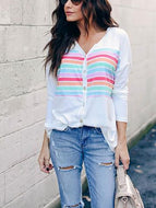 Casual V Neck Printed Colour Striped Shirt Shirts & Blouses