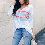 Casual V Neck Printed Colour Striped Shirt Same As Photo / S Shirts & Blouses