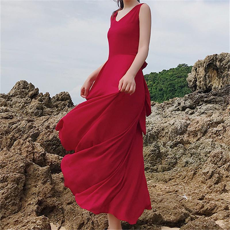 Sexy V Neck And Backless Long Dress Red / S Maxi