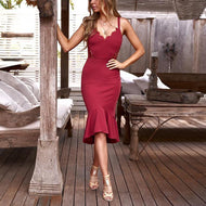 Casual Sexy Deep V Neck Lace Splicing Sling Maxi Dresses Red / S Dress