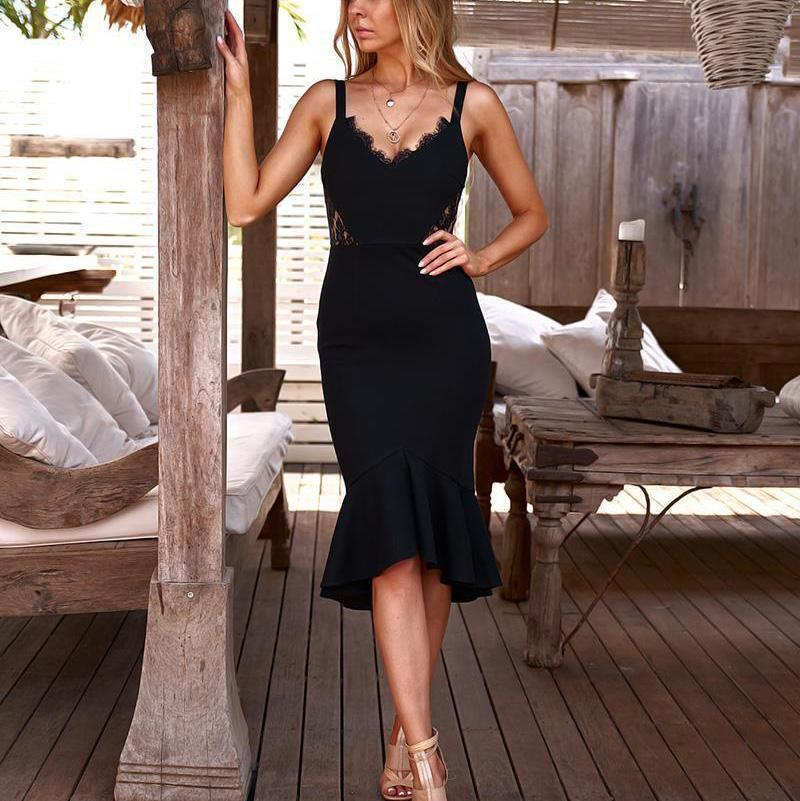 Casual Sexy Deep V Neck Lace Splicing Sling Maxi Dresses Black / S Dress