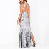 Casual Sexy Deep V Neck Backless Sequins Evening Party Maxi Dresses Dress