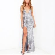 Casual Sexy Deep V Neck Backless Sequins Evening Party Maxi Dresses Silver / S Dress